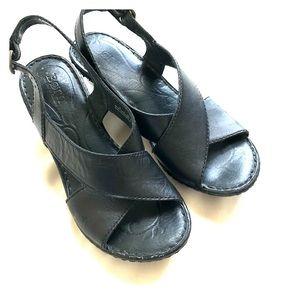 Super cute BORN black leather wedge sandals size 6